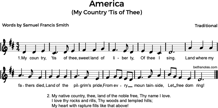 My Country Tis of Thee music