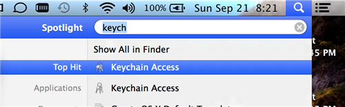 Searching for Keychain Access using Spotlight