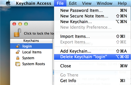 "Deleting Keychain ""login"""