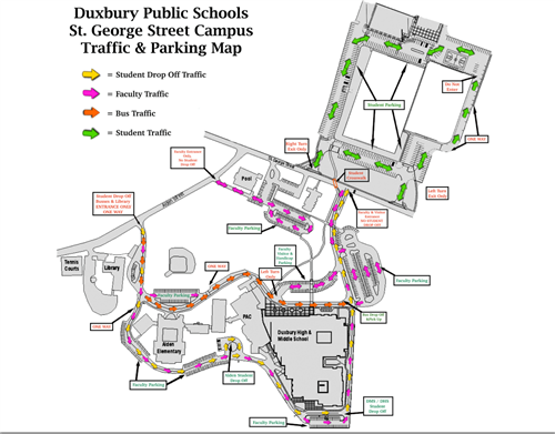 Duxbury DMS/DHS Traffic & Parking Map